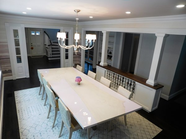 Modern home with dining room, chair, storage, table, shelves, recessed lighting, pendant lighting, and dark hardwood floor. Photo 2 of The Biese Project