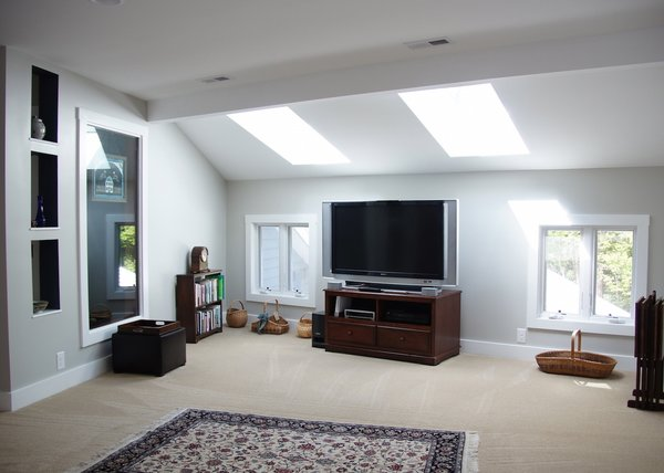Modern home with carpet floor, bookcase, windows, wood, and casement window type. Photo 18 of The Miller Project