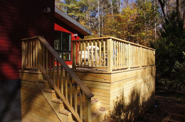 Modern home with outdoor, decking patio, porch, deck, wood patio, porch, deck, and large patio, porch, deck. Side Deck Photo 4 of The Ross-Yarger Project
