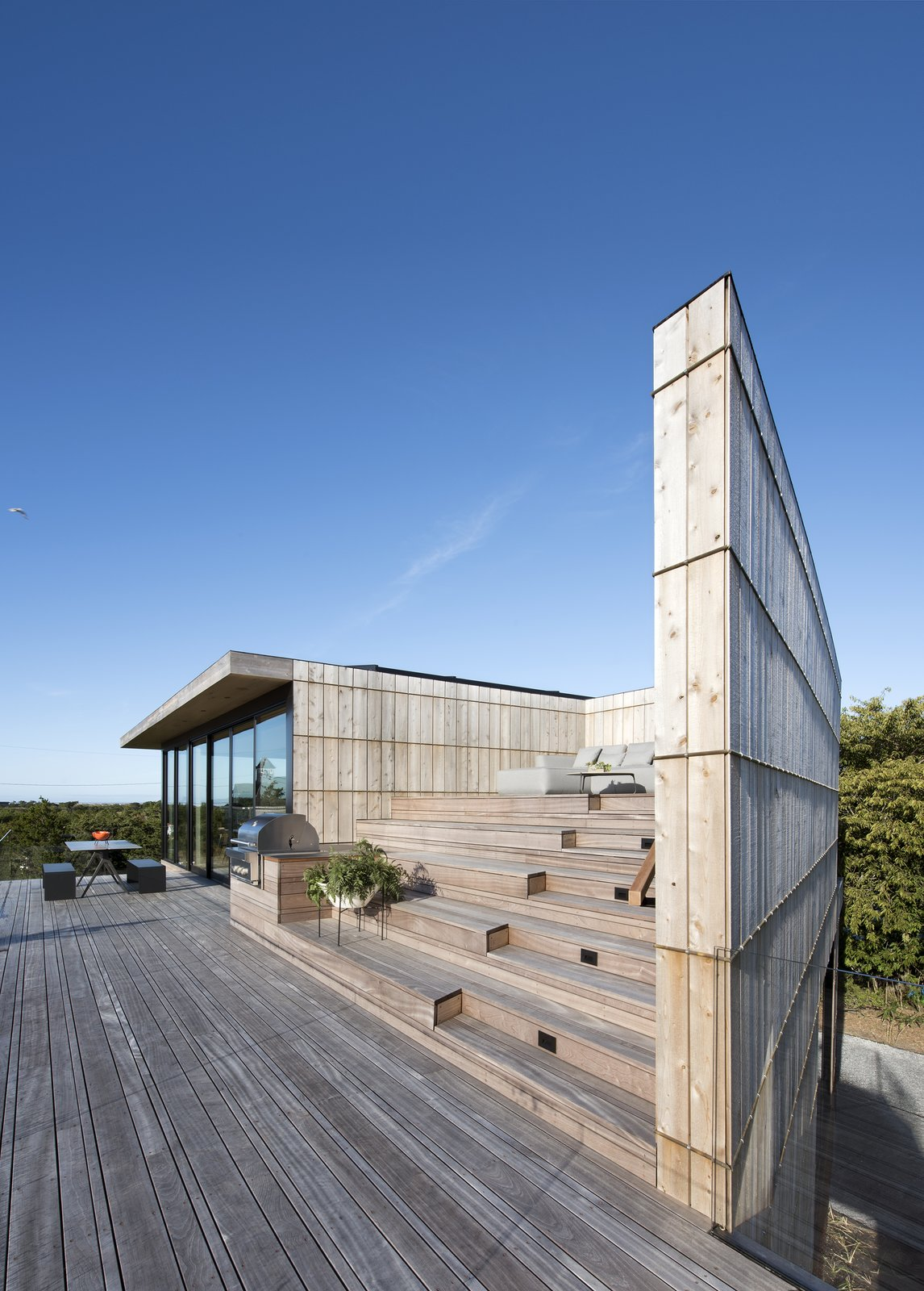Tagged: Horizontal, Raised Planters, Decking, Back Yard, Landscape, Exterior, House, and Wood.  Best Exterior Decking Photos from Amagansett Landmark