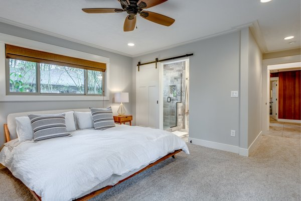 Master bedroom with master bathroom. Photo 11 of Chic Mid-Century in Oregon Wine Country modern home