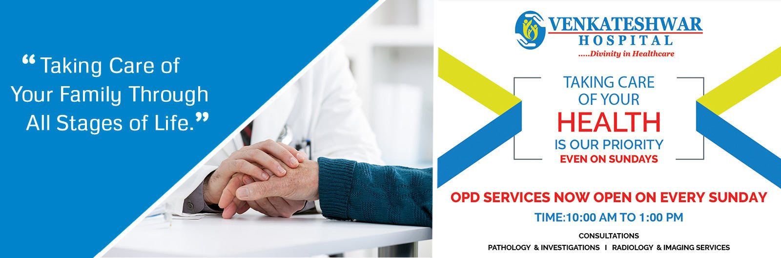 OPD Services Now Ope on Every Sunday   Health Services by Venkateshwar Hospital