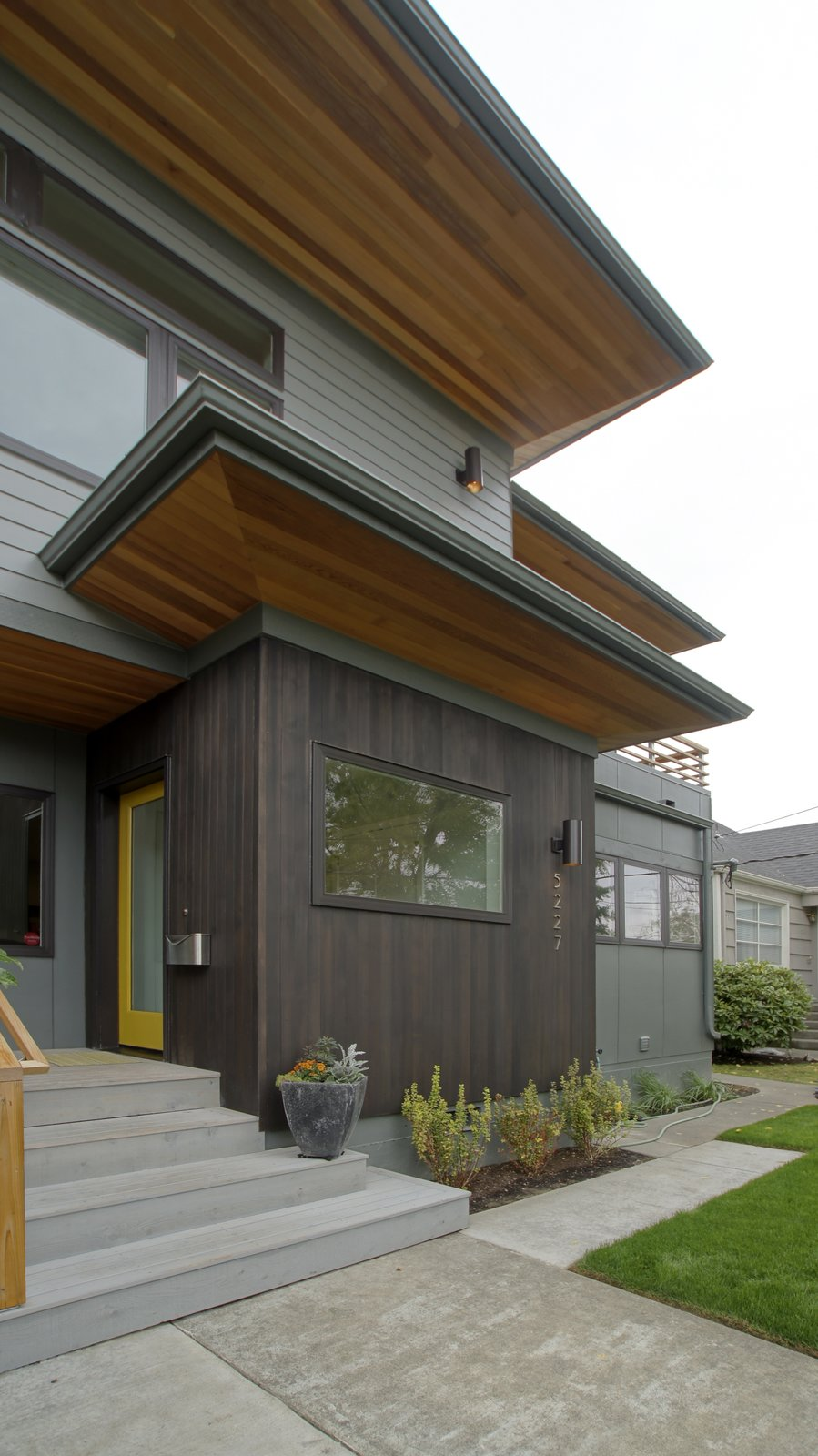 Originally a nondescript single story home, the owners hoped to add both a second story as well as a new modern sensibility to their home. Deep exaggerated eaves on the east and west sides provide visual interest as well as shading during the summer months.