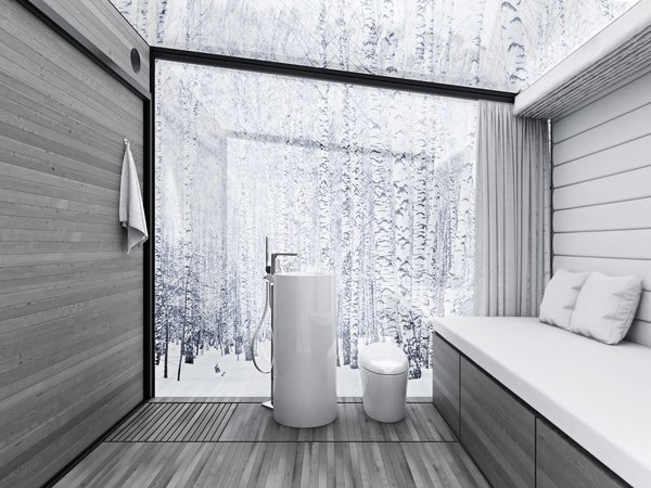 DISAPPEAR RETREAT dissolves the ecological footprint and provides seamless living with nature.  Imagine it is -25˚F on a typical winter morning in northern Minnesota, yet no heating is required.  Reducing the heating load by 95% using passive methods is a critical strategy to achieve zero-energy.  A minimalist palette and layout keeps the focus on the beautiful surroundings, offering a meditative experience.  This model has a built-in bed/sofa with storage, toilet, sink, shower, and refrigerator drawer. Photo  of Disappear Retreat modern home