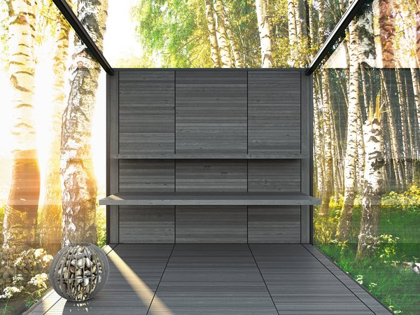 """""""Look at the landscape and see yourself, a sacred connection and reflection - what does it reveal?"""" -John O'Donohue.  The SAUNA model has integrated wood benches and stainless steel basket holding stones and concealed electric heating element. The majority of heating can be provided naturally by passive solar. Photo 10 of Disappear Retreat modern home"""