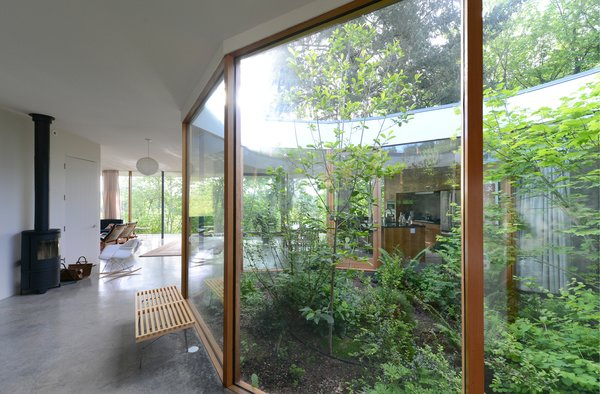 The faceted exterior glass courtyard introduces nature into daily life.  Photo 7 of The Courtyard House modern home