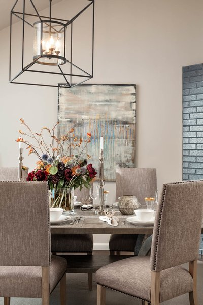 Modern home with dining room, chair, table, and ceiling lighting. Dining room. Interior design by Carrington Hill Designs. Photo 3 of Atherton Home Design Makeover