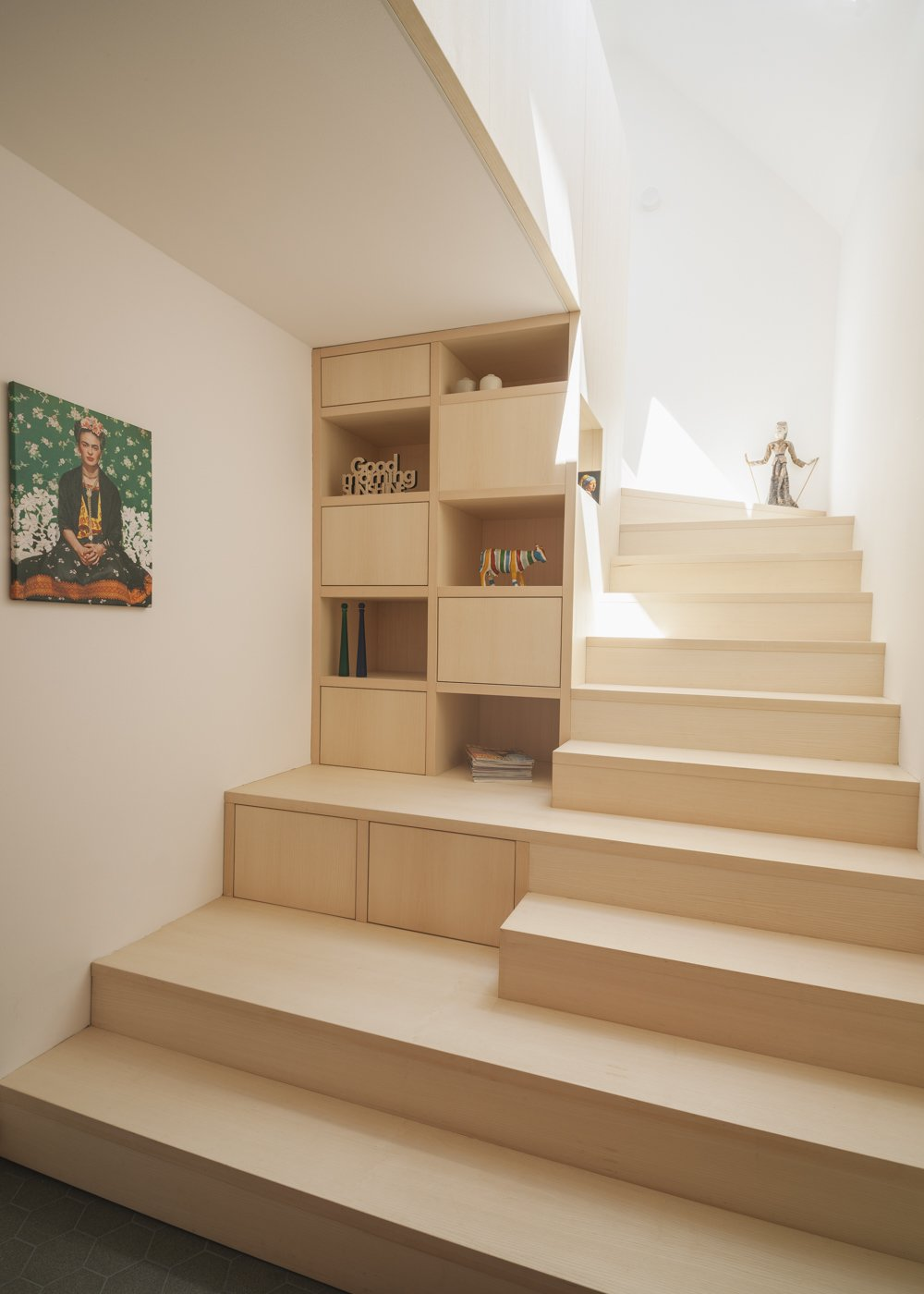 "new ""stairage"" out of ash wood Tagged: Storage Room and Under Stairs Storage Type. Haus Mai by Project Architecture Company"