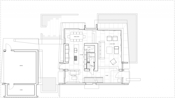 The architectural drawings of the house, this is the first floor and below is the second  Photo 19 of The Floating House modern home