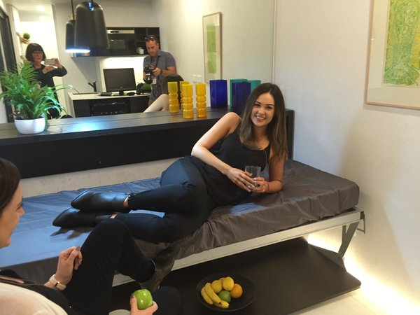 with the bed folded down.... note the desk still has the fruit on it! Photo 4 of The Tiny house modern home