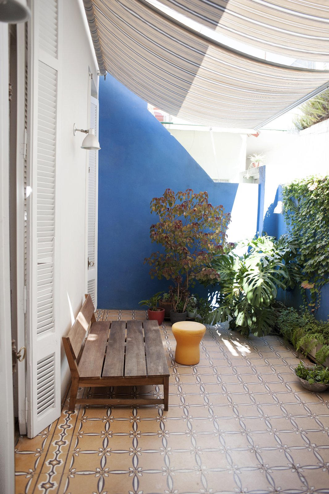 The petiribi wood bench,  the sunshades and the plants over the blue walls set up a unique atmosphere.  Artigas by melisa