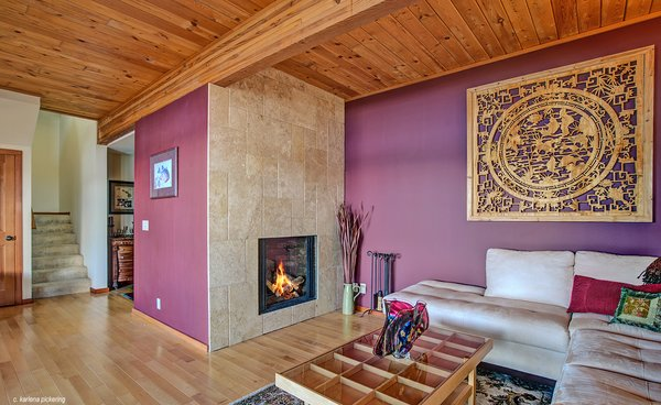 Propane Fireplace in Main Floor Living Room Photo 6 of Idyllic Lopez Island Bayfront Home modern home