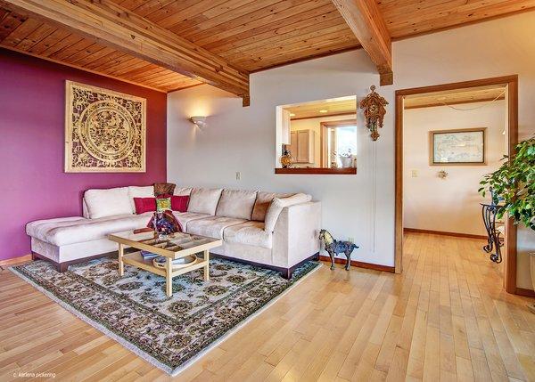 Spacious Main Floor Living Room Photo 5 of Idyllic Lopez Island Bayfront Home modern home