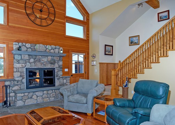 Natural Stone Fireplace with Gas Ignitor Photo 3 of Sweetbriar Farm modern home