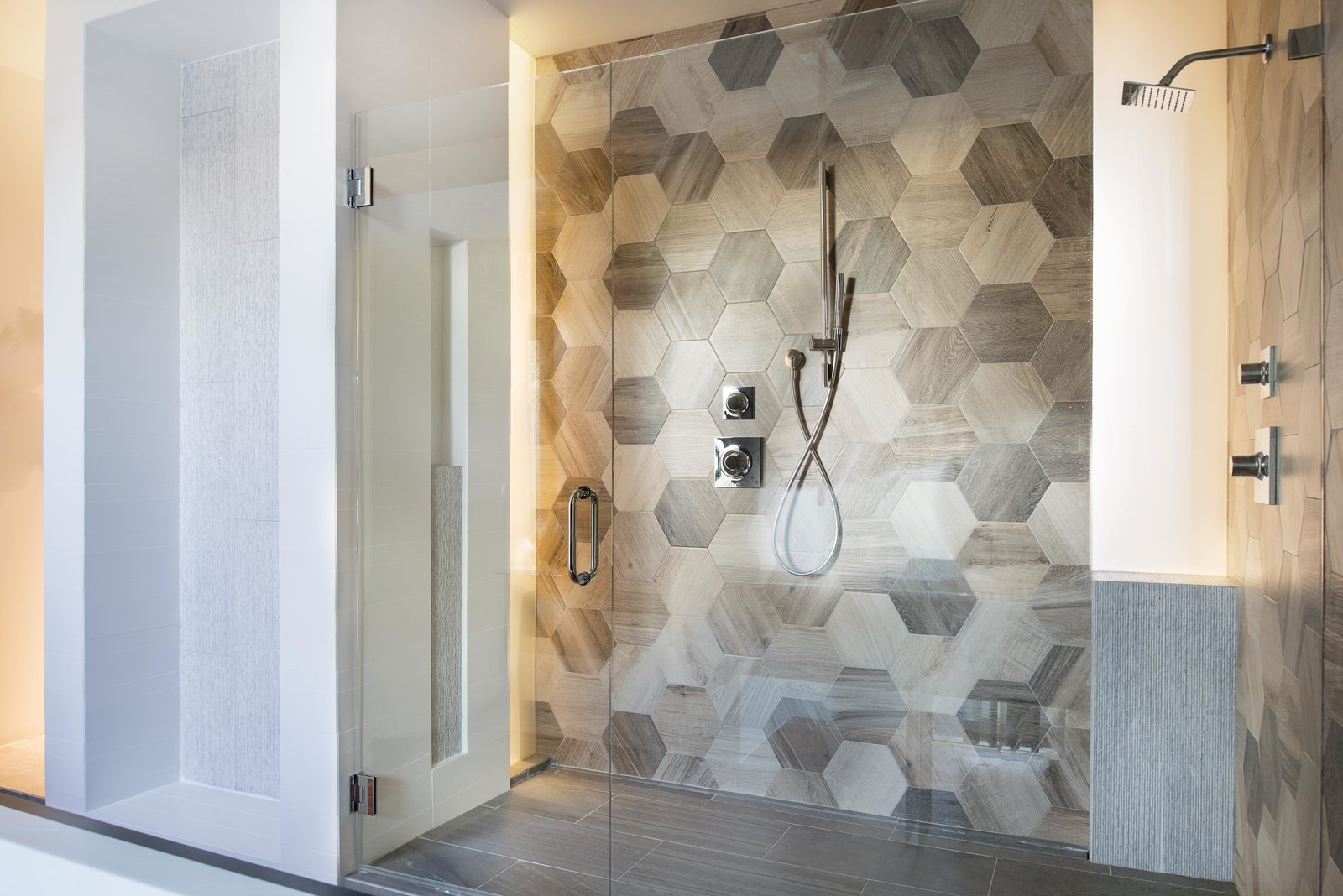 Master shower with hexagonal faux wood tiles Tagged: Bath Room, Full Shower, and Ceramic Tile Floor.  Alaska House by West Architecture Studio