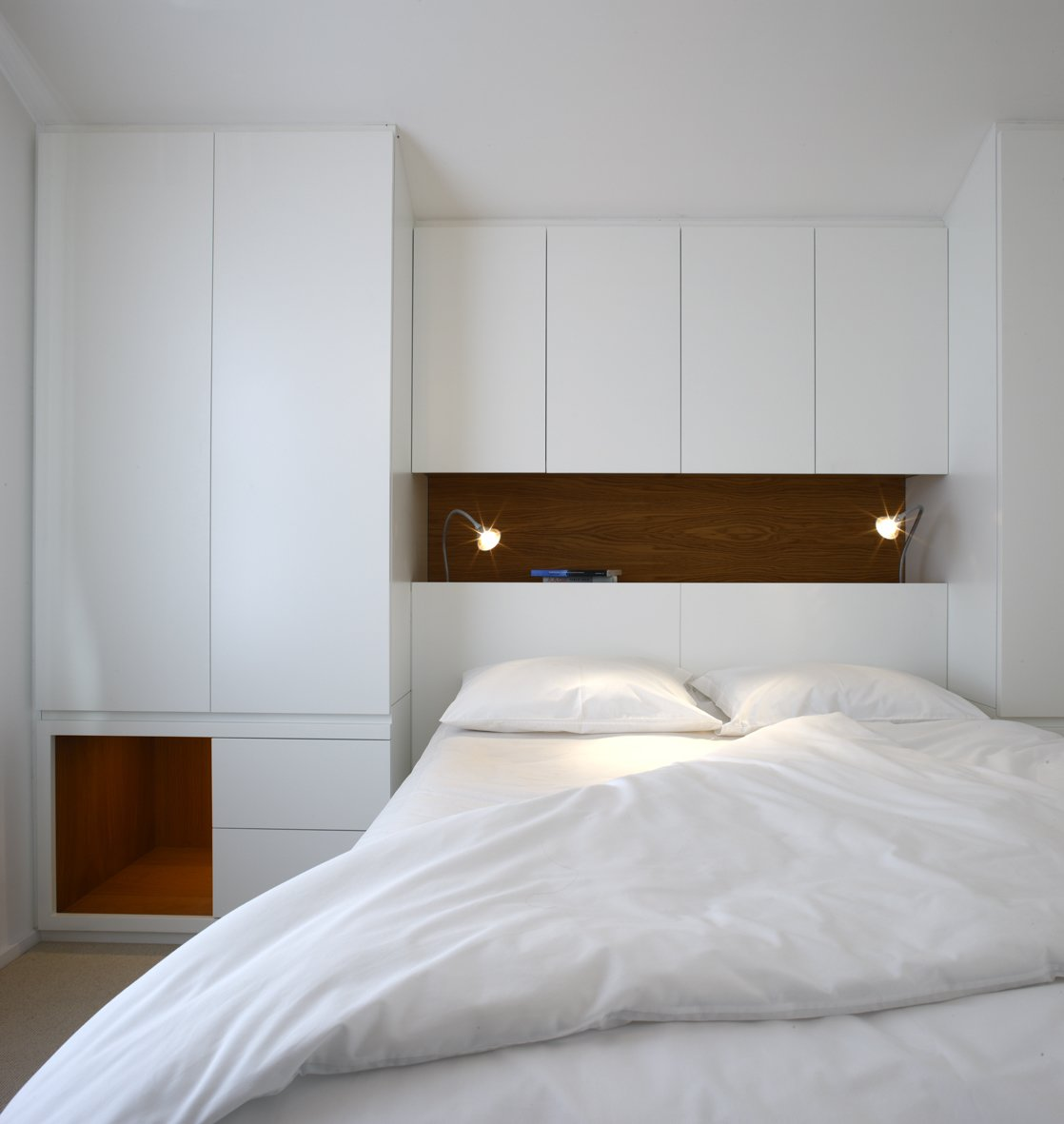Tagged: Bedroom, Bed, Wall Lighting, and Shelves.  Elm Grove by Thompson + Baroni