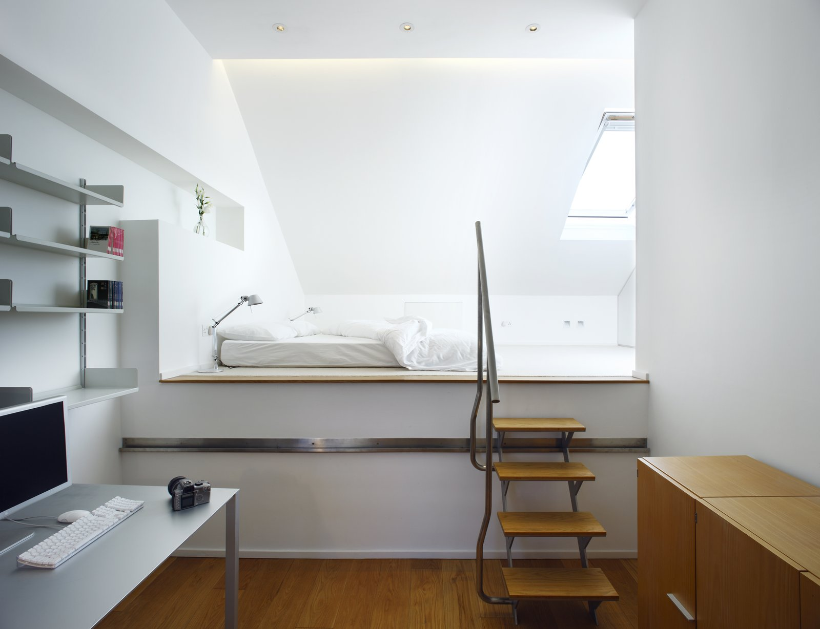 Tagged: Bedroom, Bed, and Shelves.  Elm Grove by Thompson + Baroni