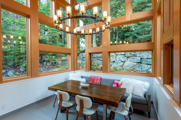 Modern home with dining room, table, chair, pendant lighting, and ceiling lighting. Eating nook/Dining room Photo 5 of Whistler Residence