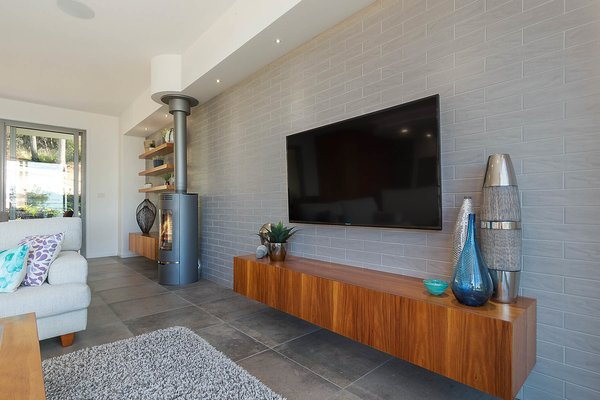 Bespoke Timber Wall Pods with Feature Fire Place Photo 10 of The Tathra Residence modern home