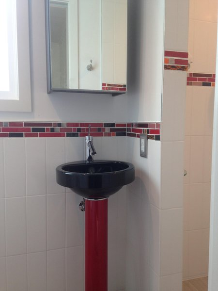 Photo 2 of California Residence: Retro Red Bathroom modern home