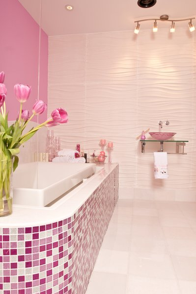 Photo  of Pink Glitter Glass Tile Bathroom modern home