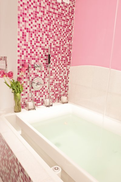 Photo 4 of Pink Glitter Glass Tile Bathroom modern home