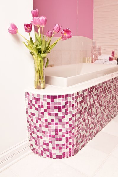 Photo 3 of Pink Glitter Glass Tile Bathroom modern home