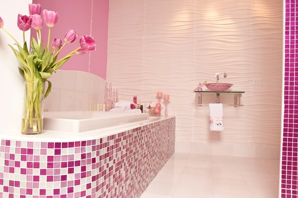 Photo 2 of Pink Glitter Glass Tile Bathroom modern home