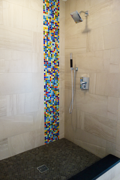 Photo  of Massachusetts Residence: Colorful Shower Accent modern home