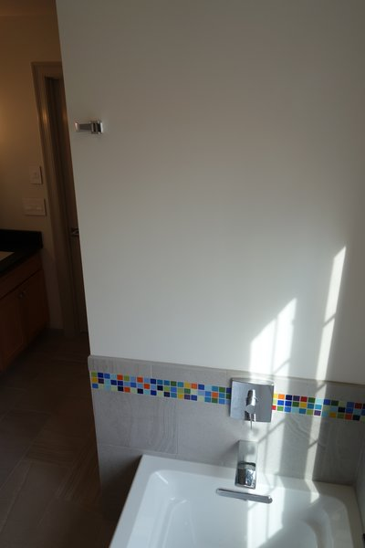 Photo 2 of Massachusetts Residence: Colorful Shower Accent modern home