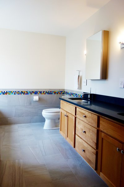 Photo 5 of Massachusetts Residence: Colorful Shower Accent modern home