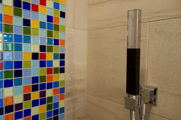 Photo 3 of Massachusetts Residence: Colorful Shower Accent modern home