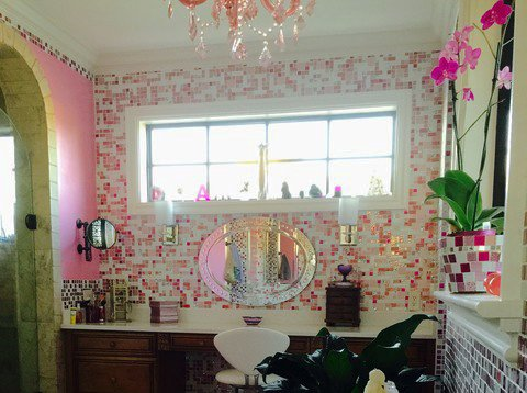 Photo 3 of Pink Glitter Glass Tile En Suite modern home