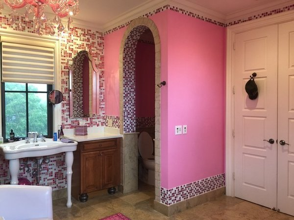 Photo 4 of Pink Glitter Glass Tile En Suite modern home