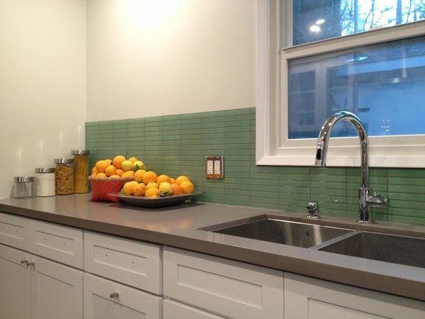 Photo  of California Residence: Retro Mint Green Glass Tile Backsplash modern home