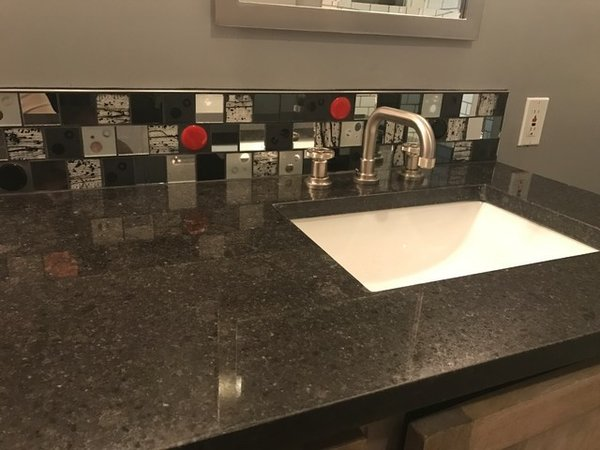 Modern home with bath room, glass tile wall, granite counter, and undermount sink. Photo 2 of Red Dot Bathroom Accent