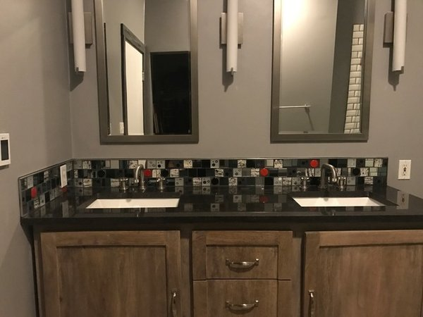 Modern home with bath room, glass tile wall, granite counter, and undermount sink. Photo 3 of Red Dot Bathroom Accent