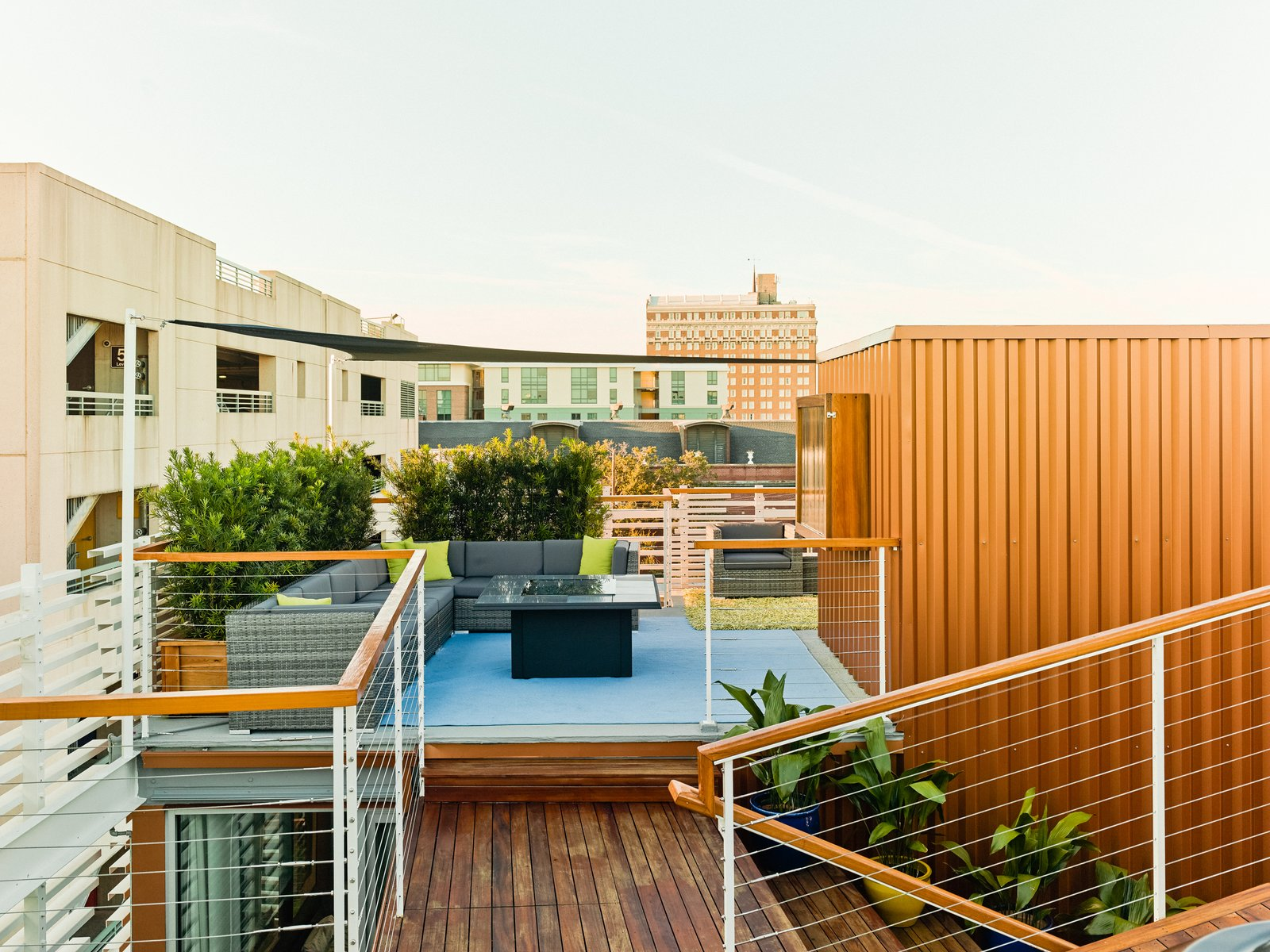 Tagged: Outdoor, Rooftop, Shrubs, Raised Planters, Small Pools, Tubs, Shower, Small Patio, Porch, Deck, Wood Fences, Wall, Decking Patio, Porch, Deck, Wire Fences, Wall, and Horizontal Fences, Wall.  SKY residence by Kevan Hoertdoerfer Architects