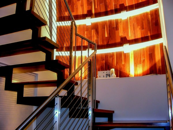 Stair with hardwood cladding Photo 13 of The HR Home modern home