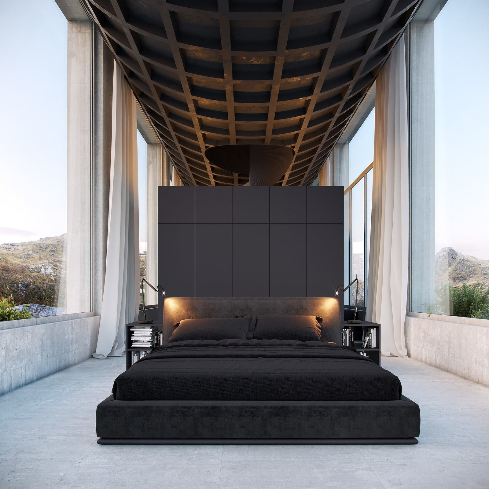 Bedroom Tagged: Bedroom, Bed, Night Stands, Concrete Floor, and Table Lighting.  Infinity House by Vladimir Konovalov