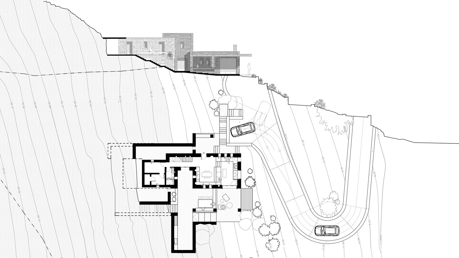 West elevation & gorund floor plan  ROCKSPLIT house by COMETA ARCHITECTS
