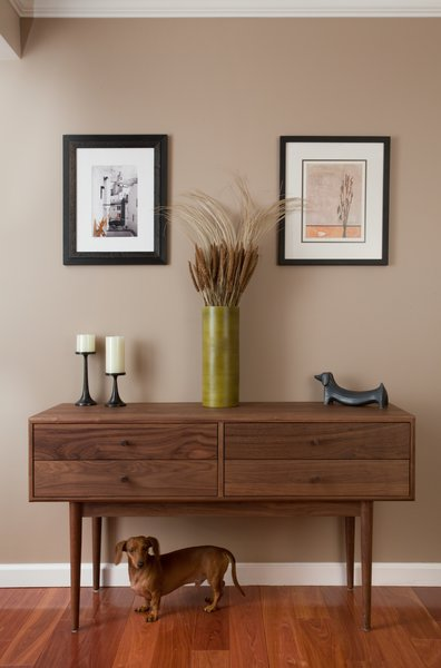 With a stroke of luck (and a great photographer!) we captured the family Dachshund under the walnut wood mid-century credenza in the foyer. The tinier, inanimate version of the Dachshund on the credenza, is a ceramic sculpture we found from  from Jonathan Adler.  Photo 2 of Dog Lover's Apartment modern home