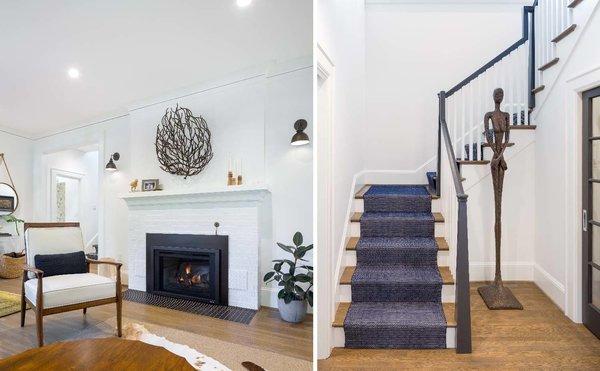 Original fireplace + custom stair railing  Photo 4 of Grant Park Dutchie modern home
