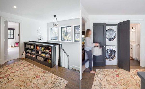 Upstairs landing accommodates book storage and discrete laundry closet  Photo 6 of Grant Park Dutchie modern home