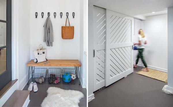 Custom designed bench for easy organization + sliding partition Photo 8 of Grant Park Dutchie modern home