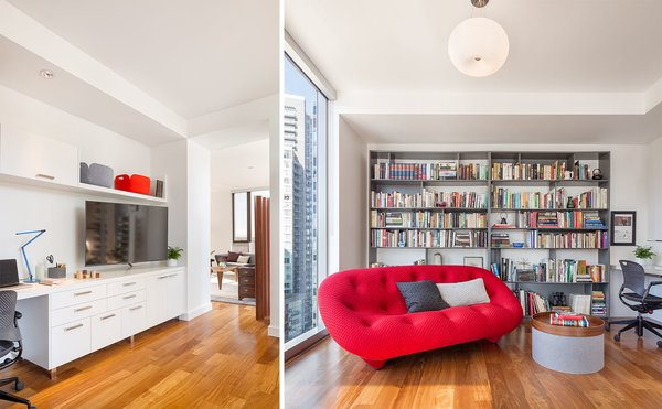 The entertainment space adds a pop of color with the Roche Bobois sofa Photo 4 of Atwater modern home