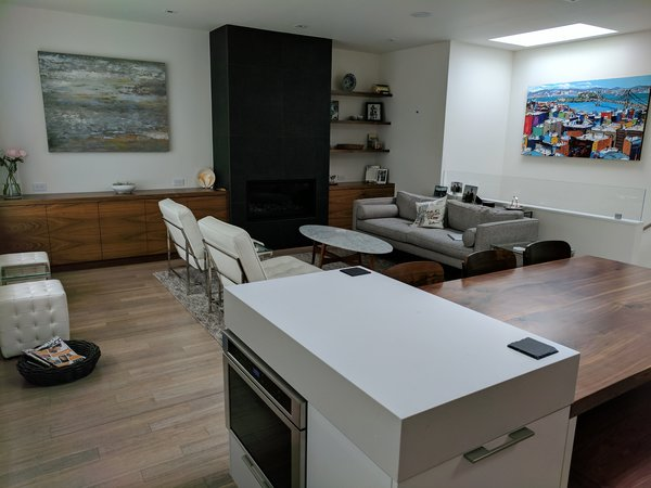 Modern home with dining room, chair, bench, table, recessed lighting, and gas burning fireplace. Photo 2 of Glen Park
