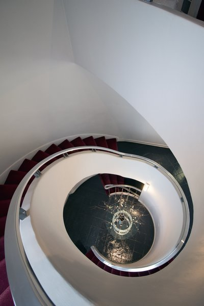 Front Stairs look down to first floor Photo 2 of International Style Home modern home