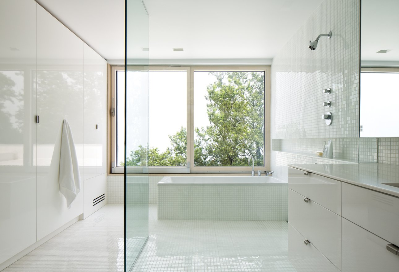 Master Bath Tagged: Bath Room, Ceramic Tile Wall, Engineered Quartz Counter, Ceramic Tile Floor, Freestanding Tub, and Open Shower.  Orient House IV by Ryall Sheridan Architects