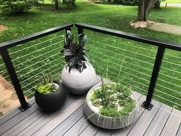 Veranda Armorguard decking and cable railing. Photo  of Gayfields modern home